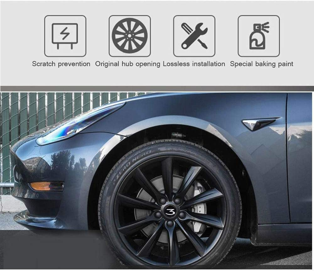 Womdee Tesla Model 3 Felgendeckel 4 Packs Nabendeckel Nabenkappen Radkappen Mit Modell 3 Logo Stilvolles Design Radnabenkappen Tesla Model 3 Zubehör Auto