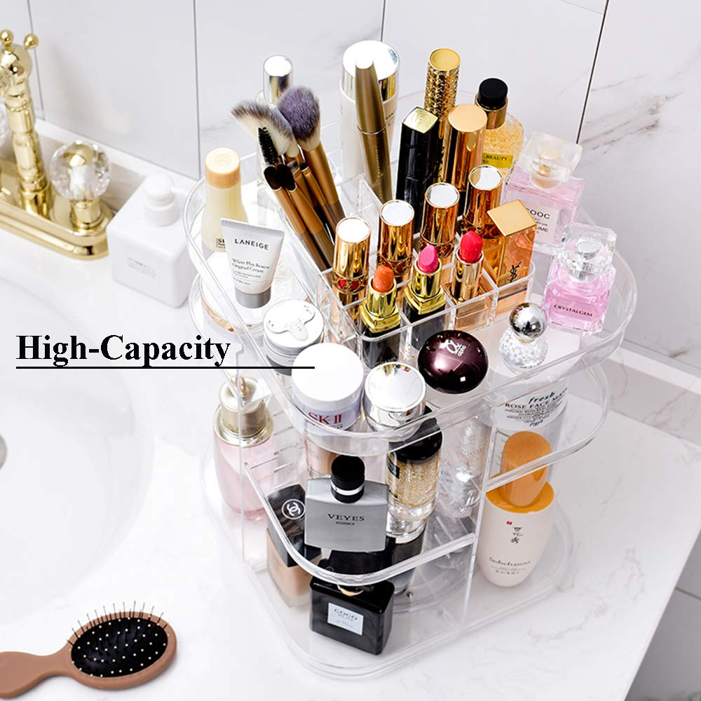 Makeup Organizer,Clear Transparent, Large Cosmetic Frame Storage Box,360 Degree Rotating Adjustable Cosmetic Storage Display Case,Fits Jewelry,Makeup Brushes, Lipsticks and More