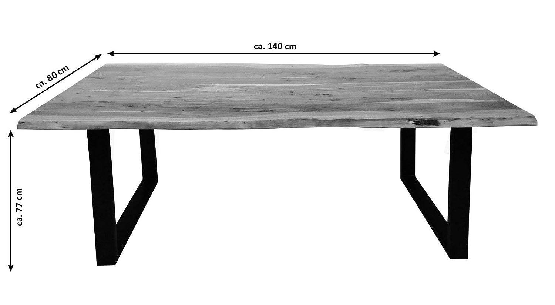 120x80 cm NOAH Akazie U-Gestell schwarz SAM M/öbel Outlet Esstisch Baumkante Natur
