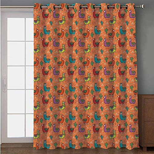Luau Character Curtain - Blackout Patio Door Curtain,Cactus,Colorful Alpacas in Mexico Latino Foliage Curved Lines Children Cartoon Characters,Multicolor,for Sliding & Patio Doors, 102