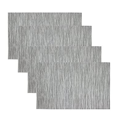 Kisstaker Kitchen Dining Table Placemats Heat Insulation Stain-resistant Table Mats Set of 4 Transparent Grey