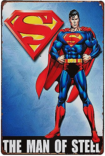 UNiQ Designs Vintage Movies Poster Metal Superman Poster  Retro Tin Sign - Superman Wall Art Superman Wall Decor - DC Comics Poster - Superman Room Decor - Super hero Poster Superhero Sign 12x8 ()
