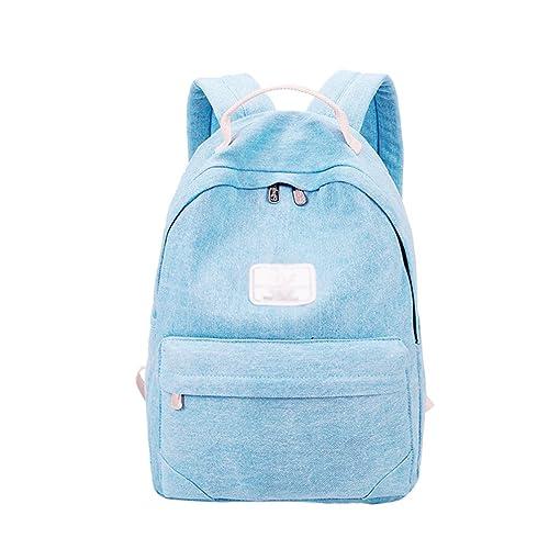 ... Denim Carteras Colegio Causal Aire Libre Viajes Escuela Reducir Hombros Carga Moda Suave Mochila Bolsos Azul Claro: Amazon.es: Zapatos y complementos
