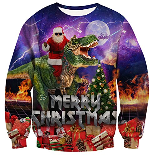 uideazone Men Women 3d Santa Claus Ride Dinosaur T Shirt Funny Cool Christmas Sweater Plus Size, Dinosaur-4, Asia XXL= US XL for $<!--$23.99-->