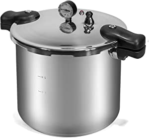 Barton Pressure Canner 22-Quart Capacity Pressure Cooker Built-in Pressure Gauge with (1) Rack, Aluminum Polished