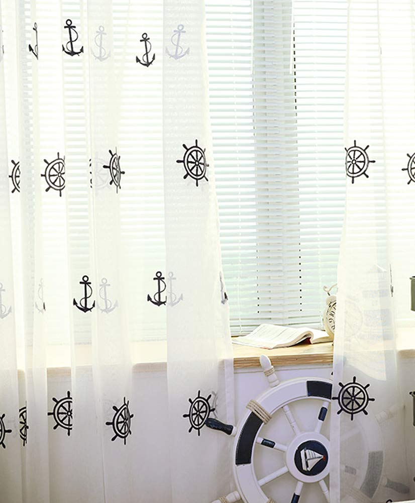 Aside Bside Rudder Embroidered Sheer Curtains Rod Pocket Top Cruise Style Transparent Window Decoration Houseroom Kitchen Sitting Room (1 Panel, W 50 x L 63 inch, White)