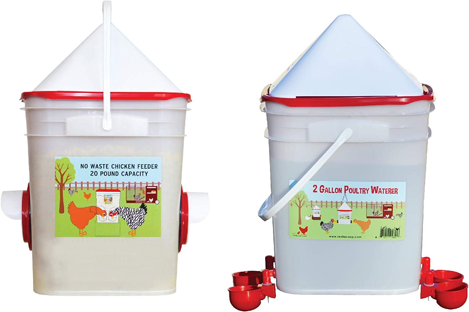 RentACoop 20 LB Dual Port Chicken Feeder and 5 Gallon Waterer with Automatic Cups and Horizontal Nipples KIT (Center Placement)