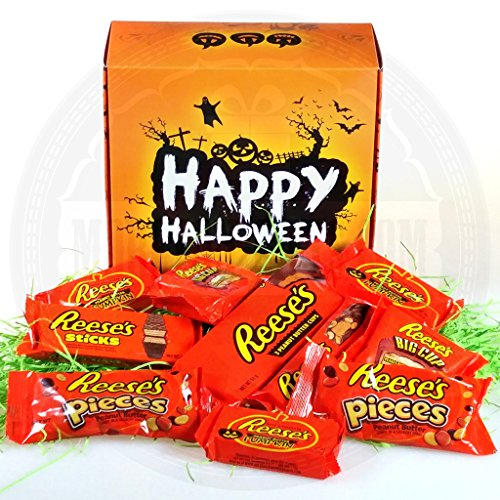 The Ultimate Halloween Reese's Gift Box – Featuring – Reese's Pumpkins, Pieces, 3 Cups, Sticks, Nut Bar & Big Cups – By Moreton Gifts. -
