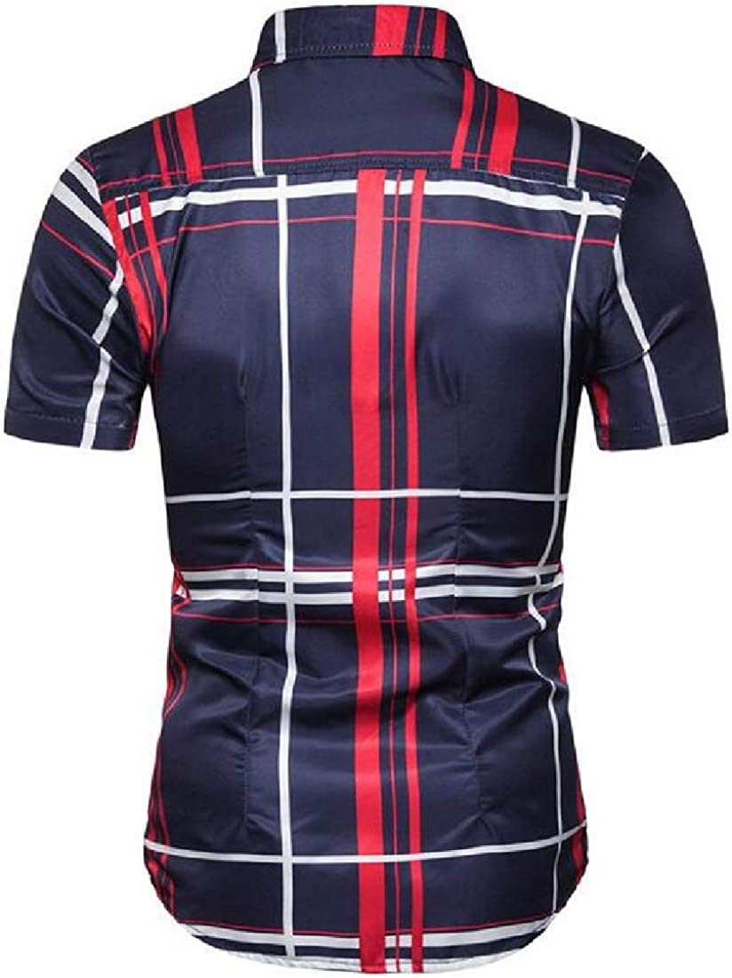 Domple Mens Short Sleeve Beach Plaid Casual Button Down Dress Shirts