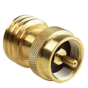 SHINESTAR 1lb to 20lb Propane Tank Adapter, 1lb Propane Adapter for Disposable Throwaway Cylinder, Connector Appliance Designed for 20 or 30 Pound LP Gas Steel Bottle, 100% Solid Brass