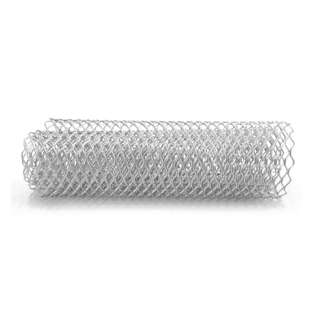 Etbotu Car Silver/Black Aluminum Alloy Front Bumper Hexagon Grill Mesh Sheet (11x25mm)
