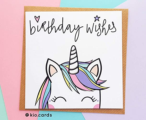 Cute Unicorn Birthday Card Rainbow Gift Amazoncouk Handmade