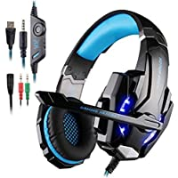 AFUNTA Auriculares Gaming para PS4, PC, Xbox One Controller, Auriculares con micrófono Que Cancela el Ruido sobre el oído, luz LED, Auriculares envolventes Bajos-Negro + Azul