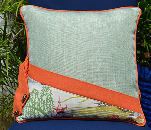 Japanese Garden Collection # 137 Aqua Orange Decorative Pillow 18