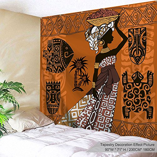 "XINYI Home Wall Hanging Nature Art Polyester Fabric African Woman Theme Tapestry, Wall Decor For Dorm Room, Bedroom, Living Room, Nail Included - 90""W x 71""L (230cmx180cm) - Black Woman And Animals"