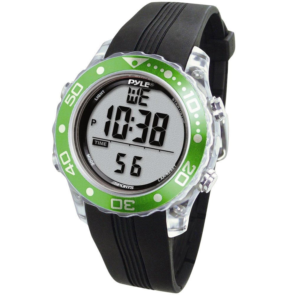 Digital Multifunction Sports Wrist Watch - Waterproof Smart Fit Classic Men Women Water Sport Swimming Fitness Gear Tracker w/ Chronograph, Countdown, Dual Time, Diving Mode - Pyle PSNKW30GN (Green) by Pyle