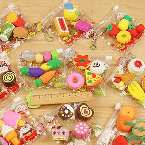 Durable 4Pcs Cake Hamburger Food Drink Fruit Rubber Eraser Set School Stationery (Names Of Monster High Characters)