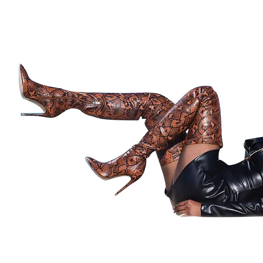 RedBrowm Over The Knee Boots Women Snake Shoes Finger Pointed Fine High Heels Long Boots shoes-1248