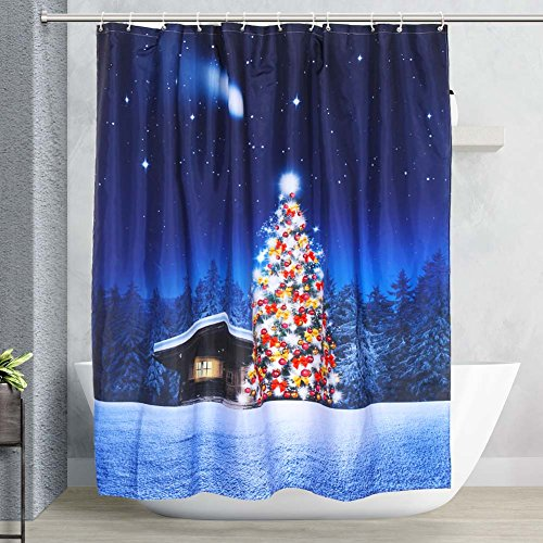 Vinwer Mildew Resistant Christmas Shower Curtain 72x72 Waterproof Bath Curtain Liner with 12 Free Hooks (Style - Style 10 Akron