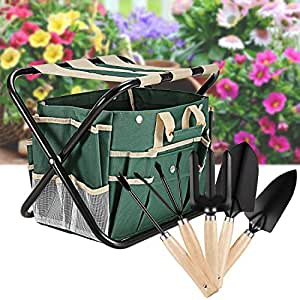 7 Piece Garden Tool Set with Tool Bag Folding Stool and5 Stainless Steel Gardening Tools