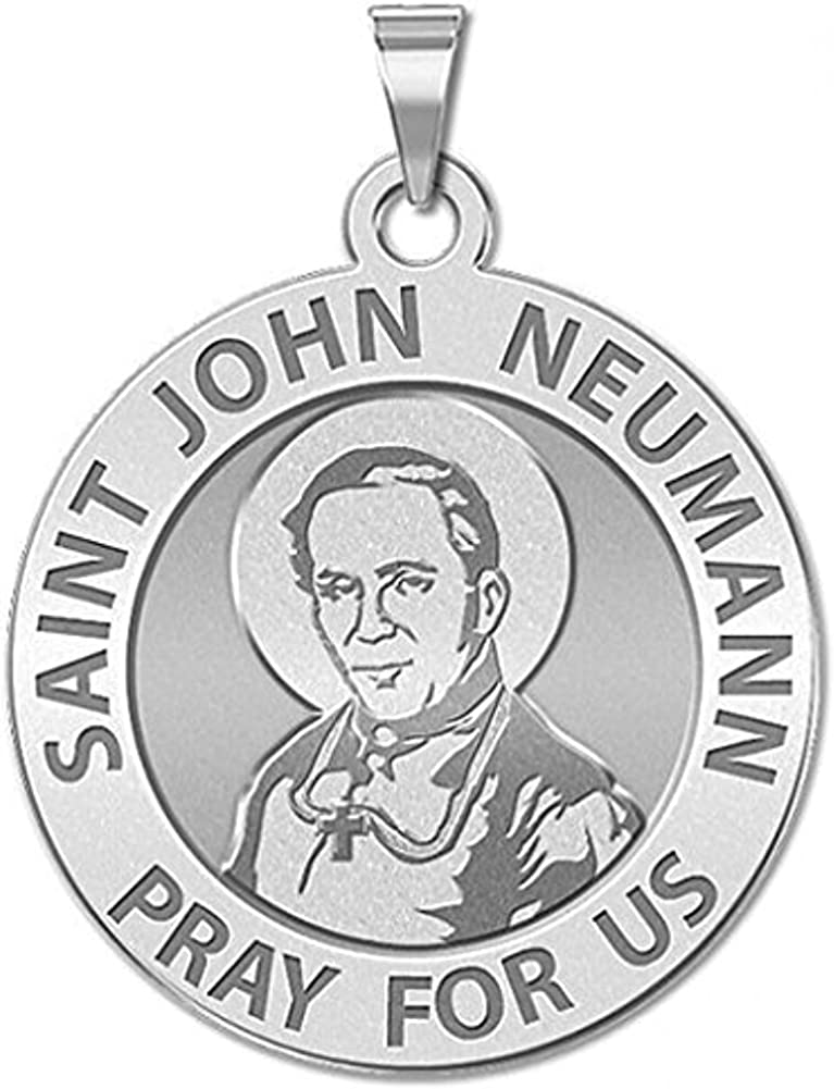 Sterling Silver 2//3 Inch Size of Dime PicturesOnGold.com Saint John Neumann Religious Medal