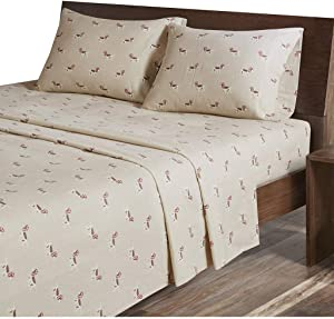 Woolrich 100% Cotton Flannel Warm Cold Weather Ultra Soft Sheet Set Bedding, Full, Tan Dog