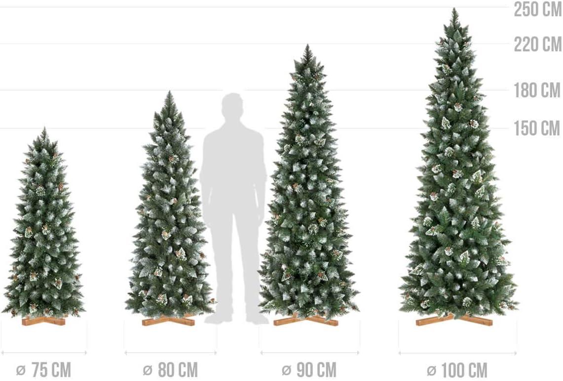 Mati/ère PVC Pommes de Pin Vraies FairyTrees Arbre Sapin Artificiel de No/êl Slim Pin Naturel Blanc Enneig/é FT09-150 150cm Socle en Bois
