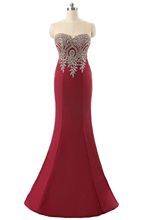 Lace Applique Tulle Long Mermaid Sweetheart Evening Prom Dress For Women Formal Party Gown