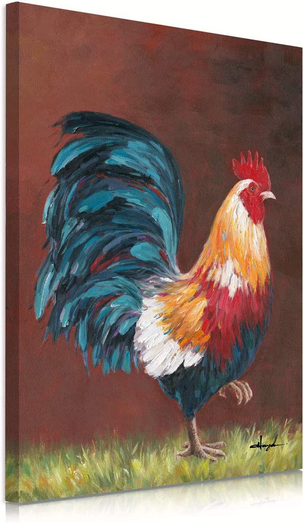 B BLINGBLING Rooster Kitchen Decor Wall Art: Vintage Farmhouse Wall Decor Animal Poster Print on Canvas Painting for Home Kitchen Dining Room Framed Ready to Hang 12