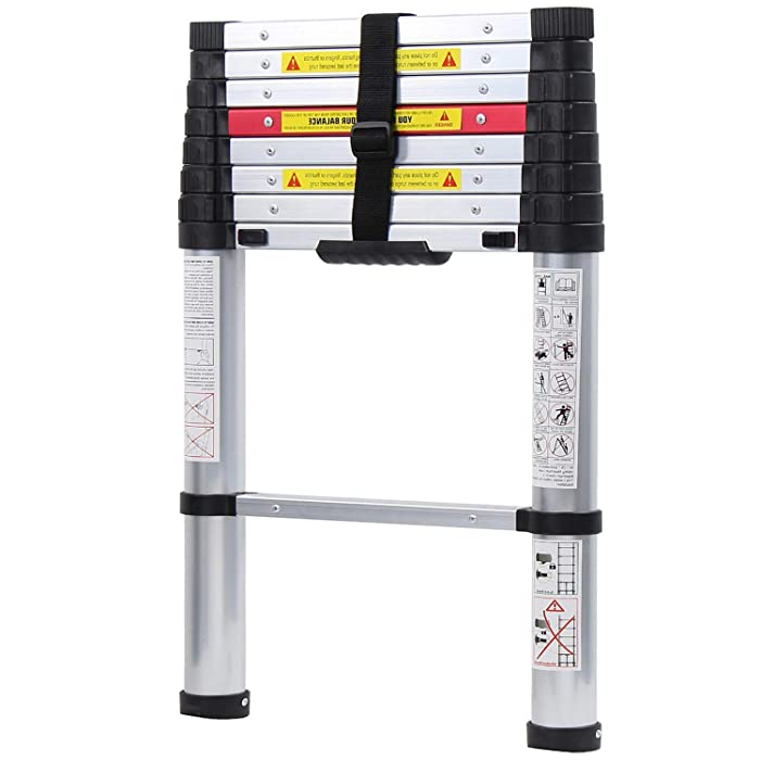 WolfWise 8.5FT Newly Aluminum Telescopic Ladder, 330lbs Max Capacity