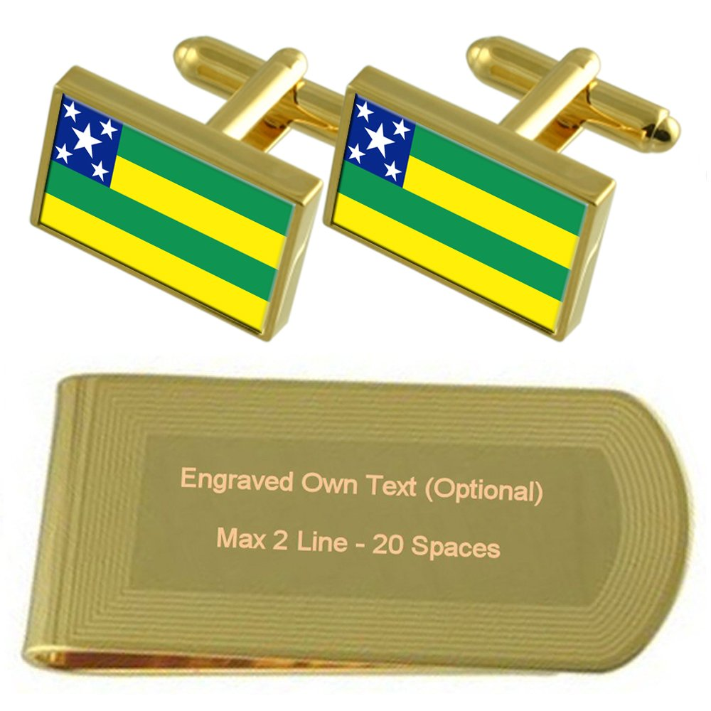 Sergipe Flag Gold-tone Cufflinks Money Clip Engraved Gift Set