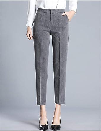 Amazon Com Pantalones De Mujer De Tobillo Recto Pantalones De Tela Delgada Oficina Senora Estilo Pantalones Clothing