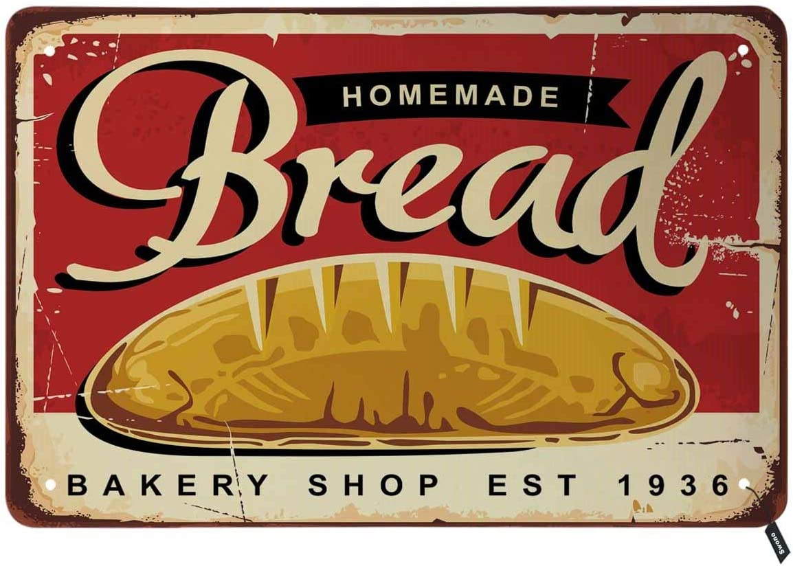 Swono Homemade Bread Baked Goods Store Tin Signs,Traditional Bakery Shop with Whole Bread on Red Background Vintage Metal Tin Sign for Men Women,Wall Decor for Bars,Restaurants,Cafes Pubs,12x8 Inch