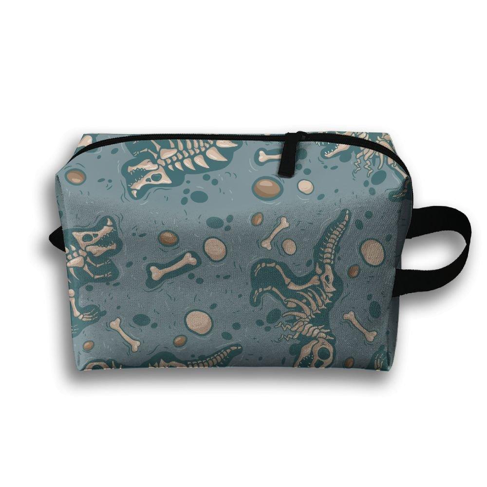 恐竜スケルトンボーンPrinted Travel Toiletry Bag多機能ポータブルバッグCosmetic Bag forホームオフィスキャンプスポーツジムアウトドア   B077SHJRNM
