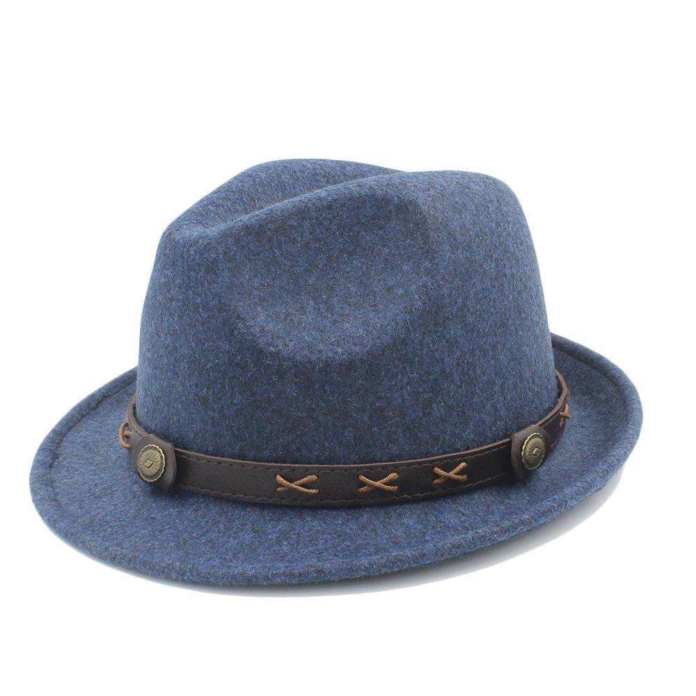 bluee ZLQ Women Men Winter Fedora Hat For Elegant Lady Dad Trilby Homburg Church Hat Derby Cloche Chapeau Top Hat