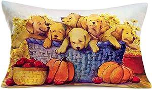 Fukeen Cute Animals Dog Family Decor Throw Pillow Covers Autumn Harvest Pumpkin Sunflower Apples Pillow Cases Cotton Linen Lumbar Rectangular Cushion Cover for Sofa Couch Car 12x20 Inch