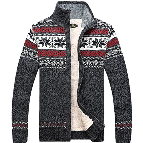 Kedera Fashion Winter Wool Cardigan Men's Casual Thick Warm Sweater (Large, Gray)