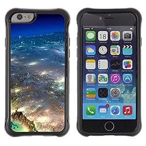 All-Round híbrido Heavy Duty de goma duro caso cubierta protectora Accesorio Generación-II BY RAYDREAMMM - Apple iPhone 6 - Universe Earth Aerial Photography City Lights