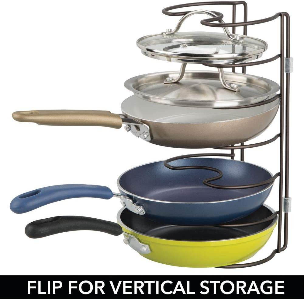 Baking Stones Frying or Sauce Pans 2 Pack 6 Slots for Vertical or Horizontal Storage of Skillets Graphite Gray Lids mDesign Metal Wire Pot//Pan Organizer Rack for Kitchen Cabinet Shelves