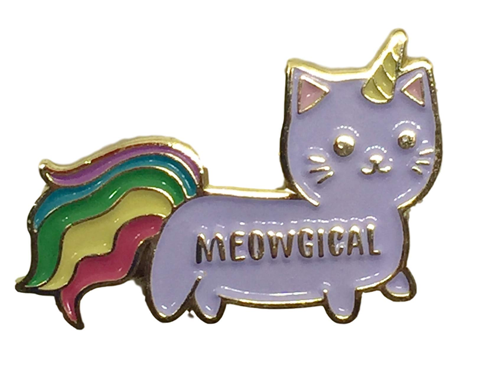 """Stickeroonie Cute Rainbow Meowgical Caticorn Lapel Pin, Colorful Magical Cat Unicorn Gold Plated Decorative Pin, 1.4"""" 4"""