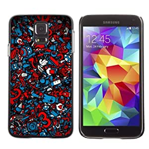 Licase Hard Protective Case Skin Cover for Samsung Galaxy S5 - Cool Graffiti Abstract Pattern