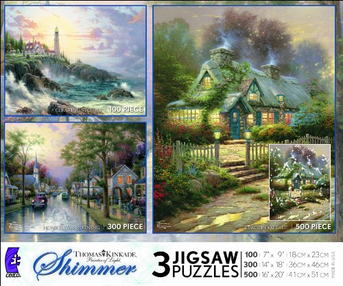 Ceaco Thomas Kinkade 3 in 1 Multi-Pack-Clearing Storms, Hometown Morning, Teacup Cottage