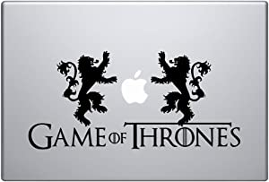 """Game of Thrones - House Lennisters - Combo pack 1 title banner and 2 opposite Lions - Size 11.5 x 5 Inches Adjustable - Laptop Skin Vinyl Decal Sticker for MacBook Pro 13"""" – and other Apple Laptop"""
