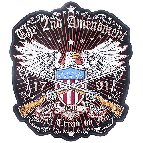 - Large Patriotic Eagle Flag Embroidered Bikers Patch The 2nd Amendment Rockers Military Morale Iron on Badge Sew on Appliques Patch for Jacket Vest