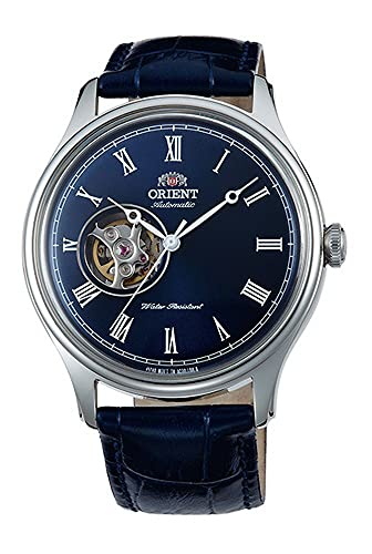 ORIENT Classic Automatic with Hand Winding Open Heart Dome Crystal Roman Blue AG00004D
