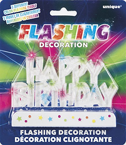 Multicolor Flashing Happy Birthday Cake Topper Decoration