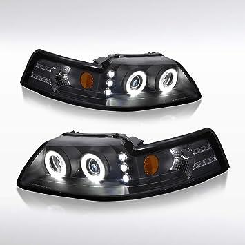 1999 2000 2001 2002 2003 2004 Ford Mustang V6 V8 Black Halo Rim Headlights Lamps