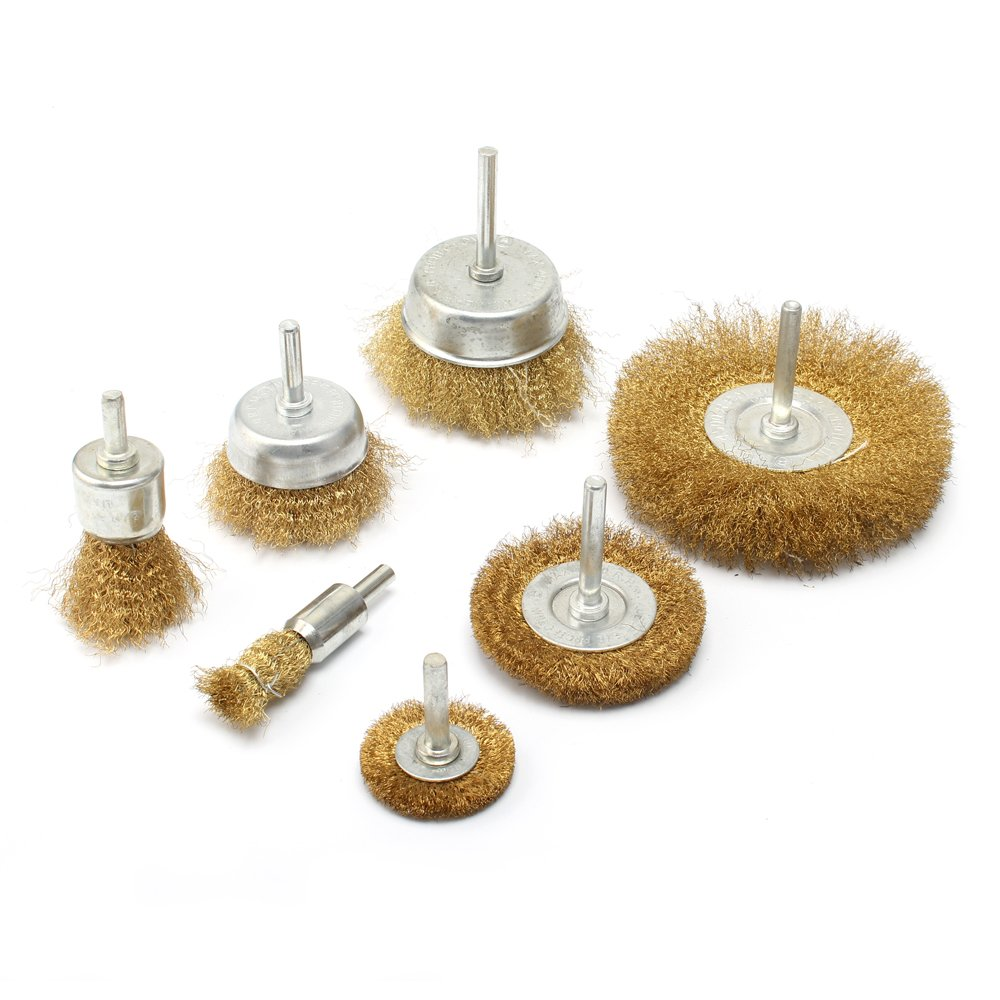 7pc Brass Wire polishing Brush Wheel & Cup Set brass cup brush with 1/4-Inch Shank 0.13mm true brass wire by KUOFU