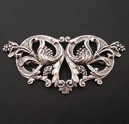 - BeadsTreasure Large Victorian Floral Embellishment Ox Silver over Brass Stamping Pendant