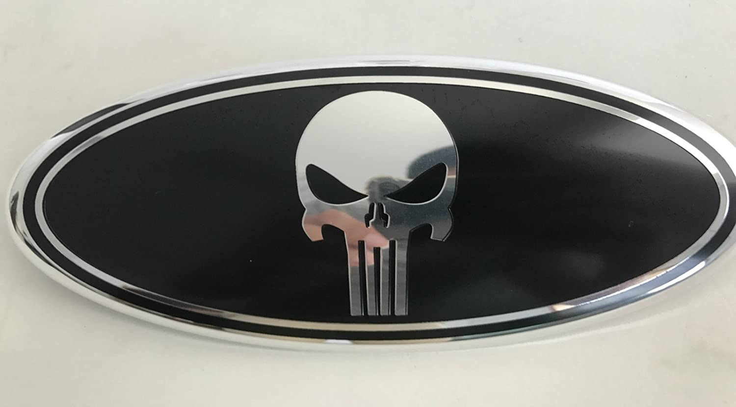 """1X Red Skull 9/"""" Inch Punisher Grille Tailgate Oval Emblem for 2004-2014 F150"""